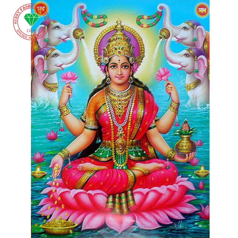 5d Penuh Persegi Berlian Bordir Agama Indian Ruang Tamu Dekorasi Tiaria Classic Pearl Necklace Emas Mutiara 95mm Rumah Diy Lukisan 3d Seni Menjahit