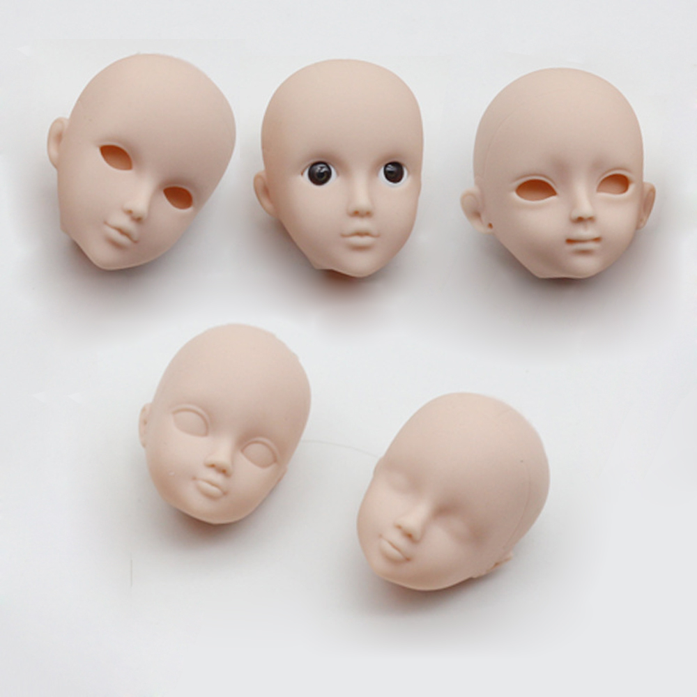 10pcs/lot Soft DIY Plastic Makeup Doll Heads for 1/6 BJD High Quality as for Barbies Doll's Practicing for Makeup Head with Eye