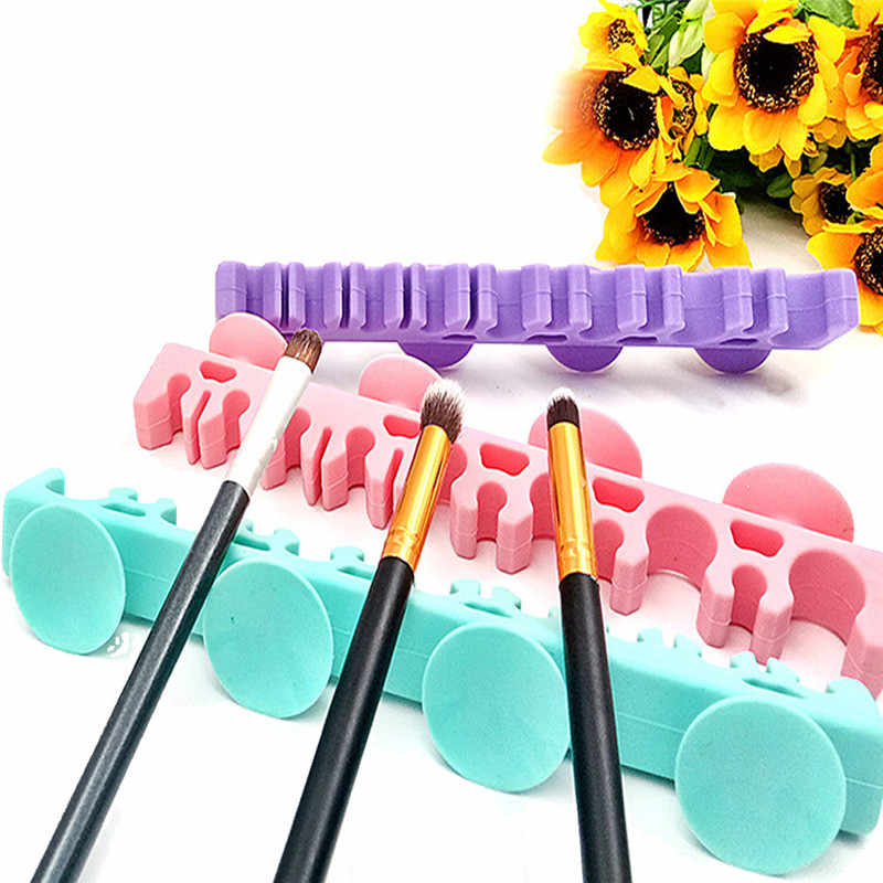 Creative Makeup Brush Holder Silicone Brush Organizer With 4 Suction Cup Eyeshadow Brush Drying Rack Beauty Cosmetic Tool