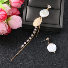 Badu Asymmetry Long Short Dangle Earring korean Style White Irregular Freshwater Pearl Earrings Women Party Jewelry OL