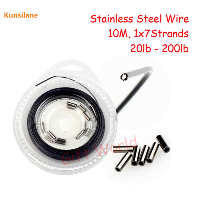цена на 20lb - 200lb 10m 1x7 Strands Nylon Covered Stainless Steel Fishing Wire Trace with Coating SS Line Jig Leader Rigs DIY Accessory
