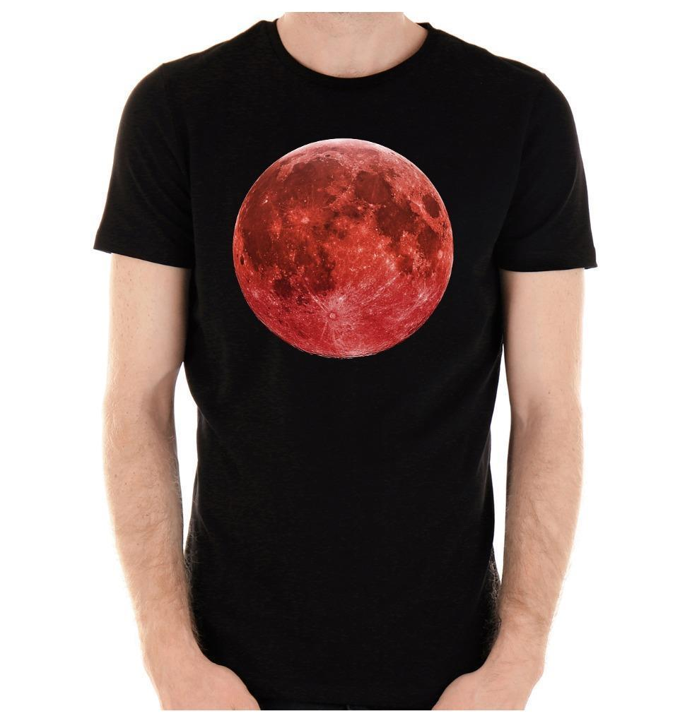 Summer 2018 New Blood Red Full Moon T-Shirt Lunar Eclipse Witch Vampire Grunge Short-Sleeve Casual O-Neck T Shirts