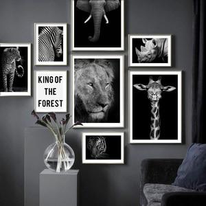 Image 2 - Animais selvagens leão tigre leopardo elefante arte da parede pintura da lona nordic cartazes e impressões fotos parede para sala de estar decoração