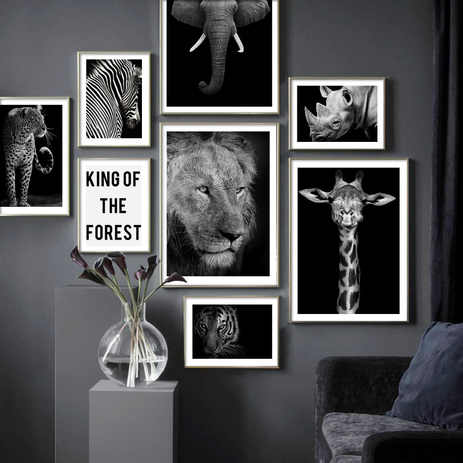 Image 2 - Wild Animal Lion Tiger Leopard Elephant Wall Art Canvas Painting Nordic Posters And Prints Wall Pictures For Living Room Decor-in Painting & Calligraphy from Home & Garden