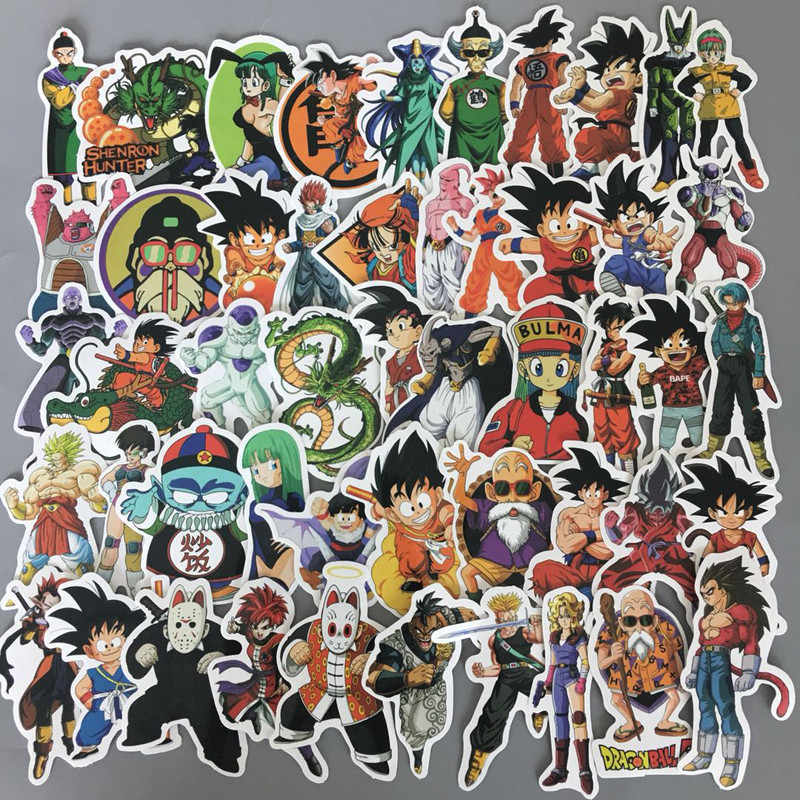 50 pcs/ pack Anime Dragon Ball Stickers Super Saiyan Goku Stickers Decal For Snowboard Luggage Car Fridge Laptop Sticker