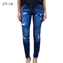 OEAK 2018 новые женские мотоциклетные Байкер молния джинсы Рваные, с дырками стрейч узкие джинсовые узкие брюки женский Slim Fit мотобрюки джинсы
