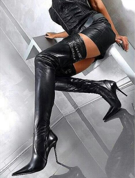 Drop Shipping Woman Sexy Solid Black Belt Buckle Stiletto Heels Pointed Toe Slim Over The Knee Thigh Long Boots Plus Size 47Drop Shipping Woman Sexy Solid Black Belt Buckle Stiletto Heels Pointed Toe Slim Over The Knee Thigh Long Boots Plus Size 47