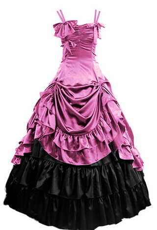 Womens Sleeveless Party Cosplay Costume Satin Gothic Lolita Ball Gown Costumes Victorian Dress Customized