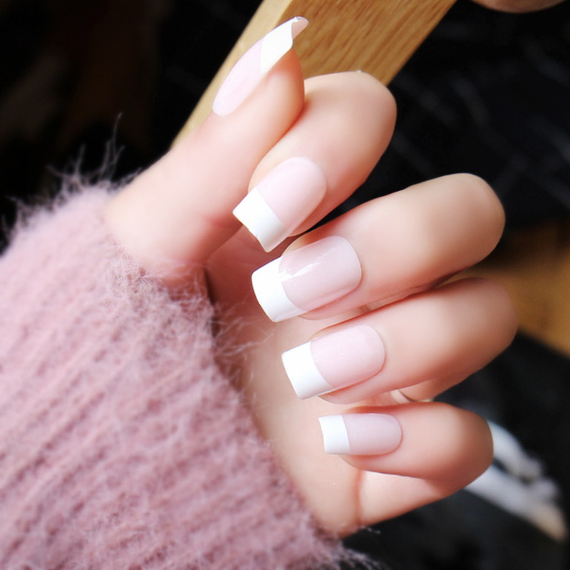 24Pcs Natural French False Nails Acrylic Classical Full Artificial ...