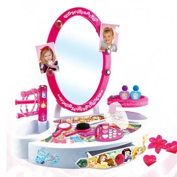 Disney pretend play Beauty  Fashion Toys Beautiful Princess Dressing Table Child Makeup Girl Gift Beauty girls toys