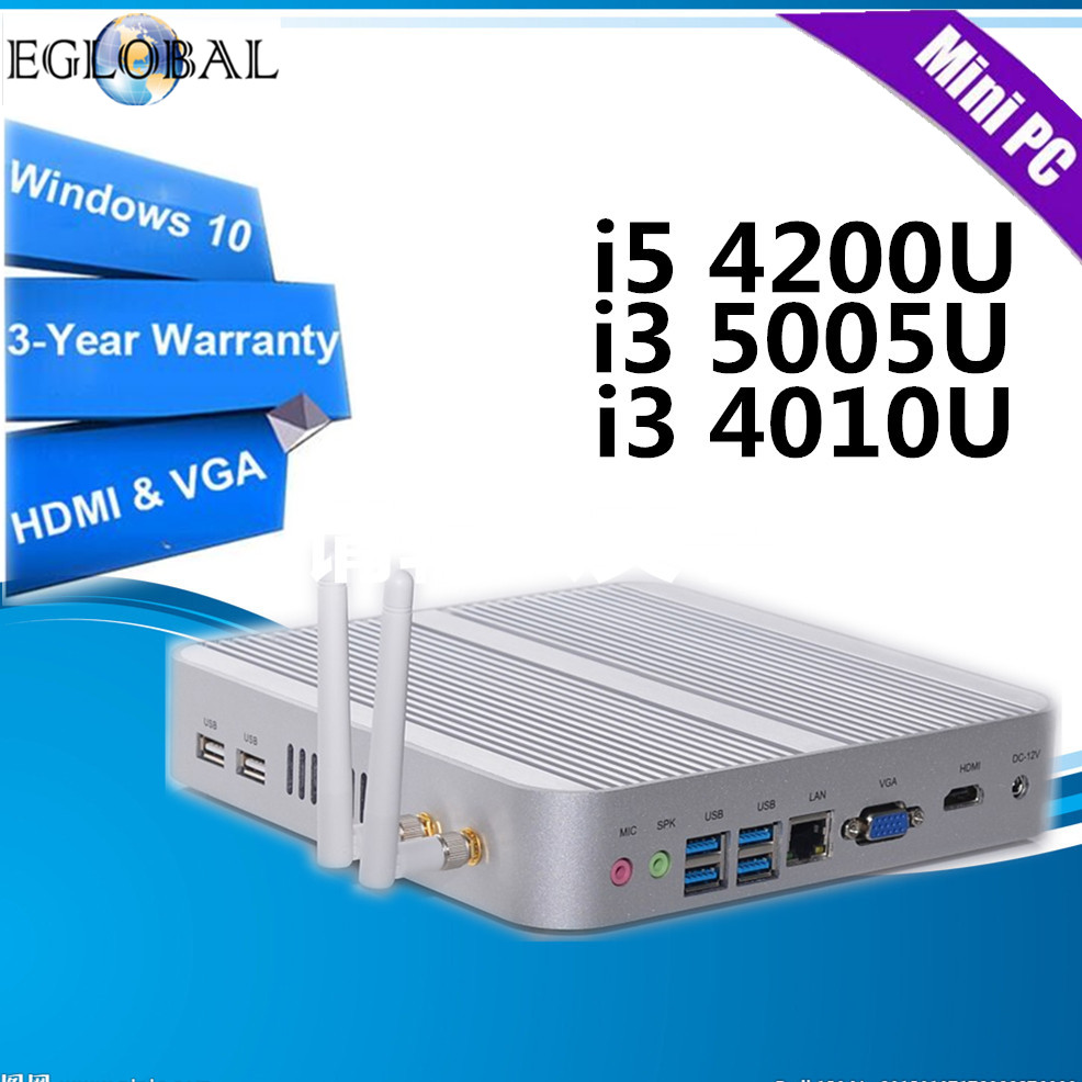 Eglobal Intel Core I5 4200U, I3 5005U, I3 4010U In Mini PC Windows10 Nuc Computer 4K HTPC TV Box  300M WIFI DHL Free Shipping
