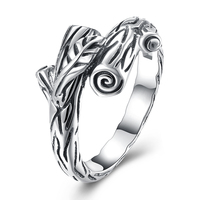 Sterling Silver Jewelry Unique Branches Ring Silver 925 Jewelry Real Solid 925 Silver Rings For Women
