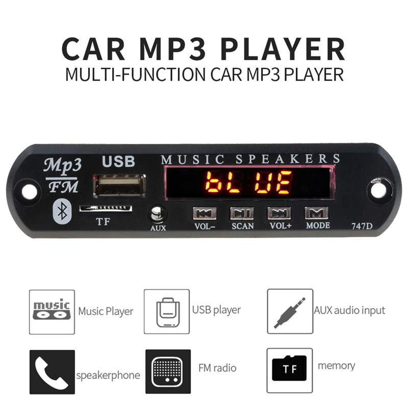 With Mic Handsfree Bluetooth MP3 Decoder Board Car FM Radio Module  Support FM TF USB AUX Audio Player Bluetooth car kit 12V3