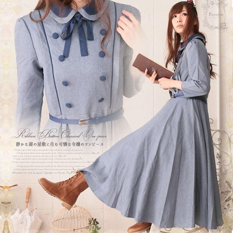 Mori fille Vintage Lolita robe femmes ruban arc doux bleu clair robe poupée col ceintures bouton dames princesse robes T702