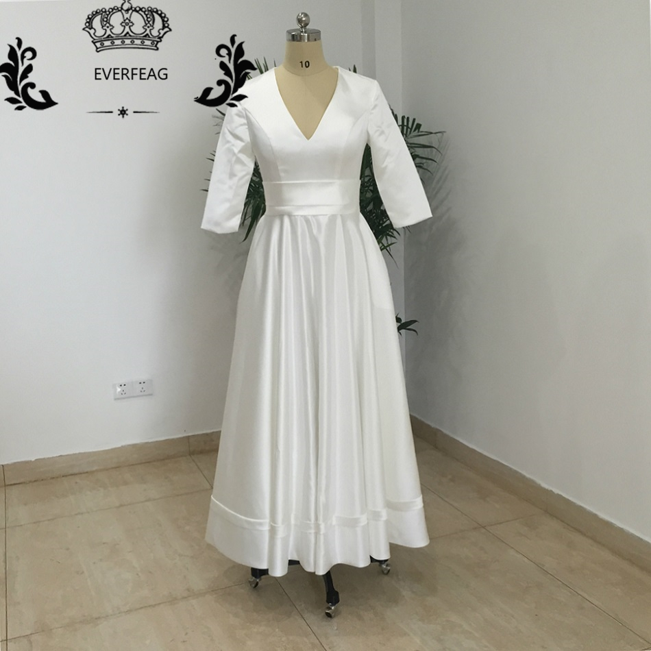 Vintage 1950 39 s tea length short wedding dress half sleeves for Summer wedding dresses with sleeves