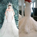 Free Shipping 2016 New Romantic Sexy Mermaid Organza Lace Sweetheart Neck Cathedral Wedding Dress Bridal Gown Custom Made Size