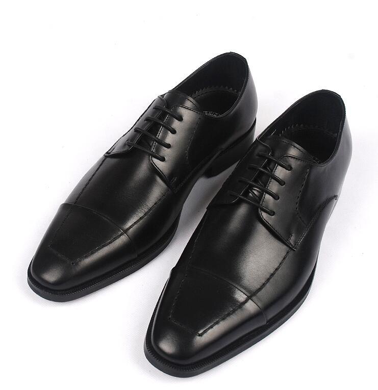 Couro Do Luxo Smart Formal Vestido Derby Goodyear Preto Sapatos Homens chocolate Casamento Artesanais Genuíno Casual De Negócios Emenda 1wz4Y7qH