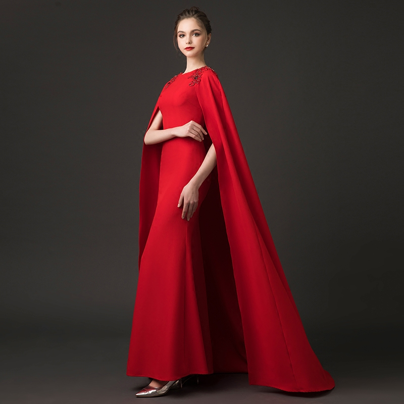 Janevini Fashion Red Mermaid Long Prom Dresses With Cape Arabic Beaded Shoulder Satin Bridesmaid 2018 Wedding Party Gown In From