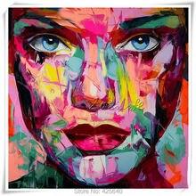 Palette knife painting portrait Francoise Nielly Hand painted Face Oil Impasto figure on canvas Pop art 6