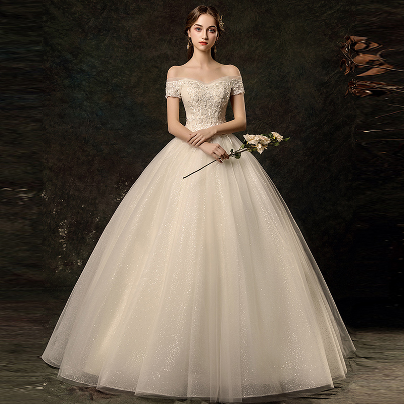 Beautiful Appliques Beading Sequined Short Sleeves Ball Gown Wedding Dress 2019 robe de mariee Bride Dress Tulle Wedding Gown