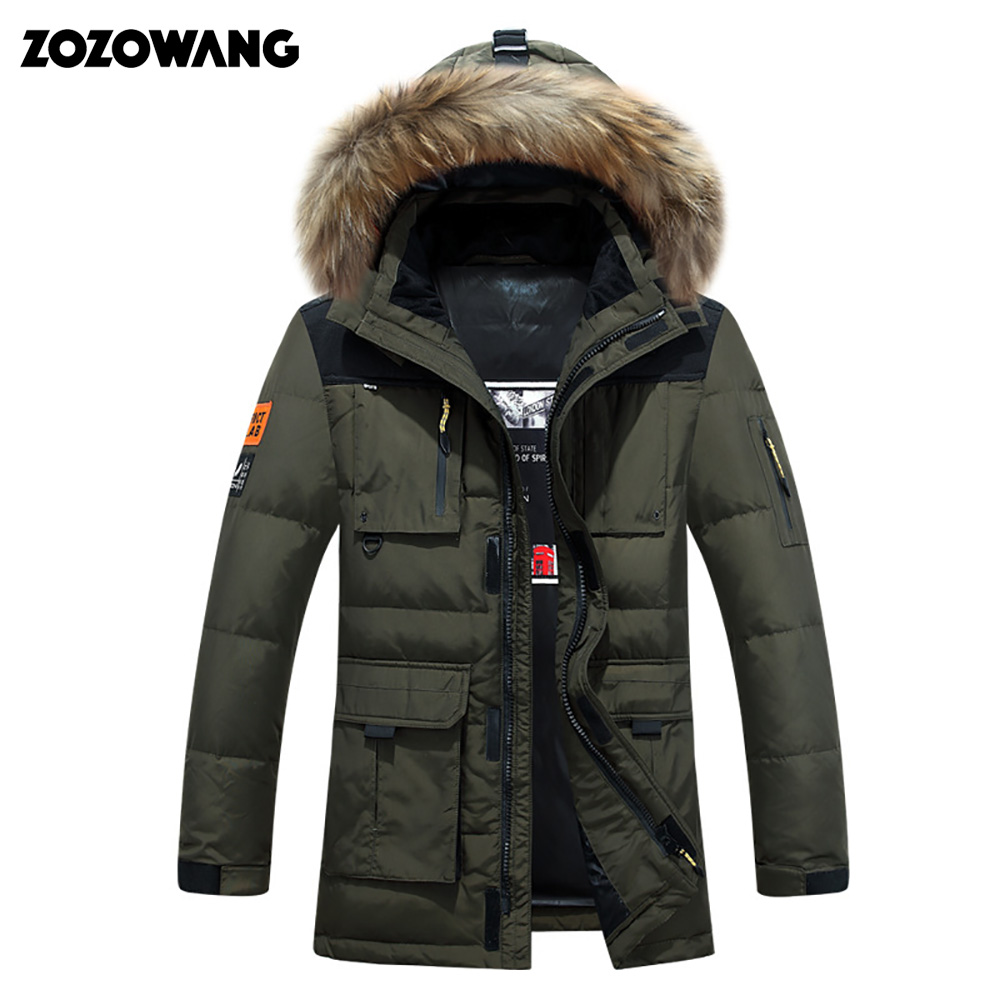 -40 degree cold resistant Russia winter jacket men top quality genuine fur collar thick warm white duck down men's winter coat