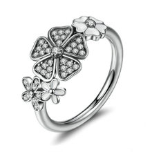 Vintage lucky FLOWER inlay Cubic Zirconia Rings for woman Silvery Party Finger Jewelry Gift Dropshipping
