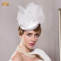 Lady Wedding White Pillbox Hat with Bowknot Summer Fedora Linen Cap Women Hair Accessories Linen Church Cocktail Hats B 8210