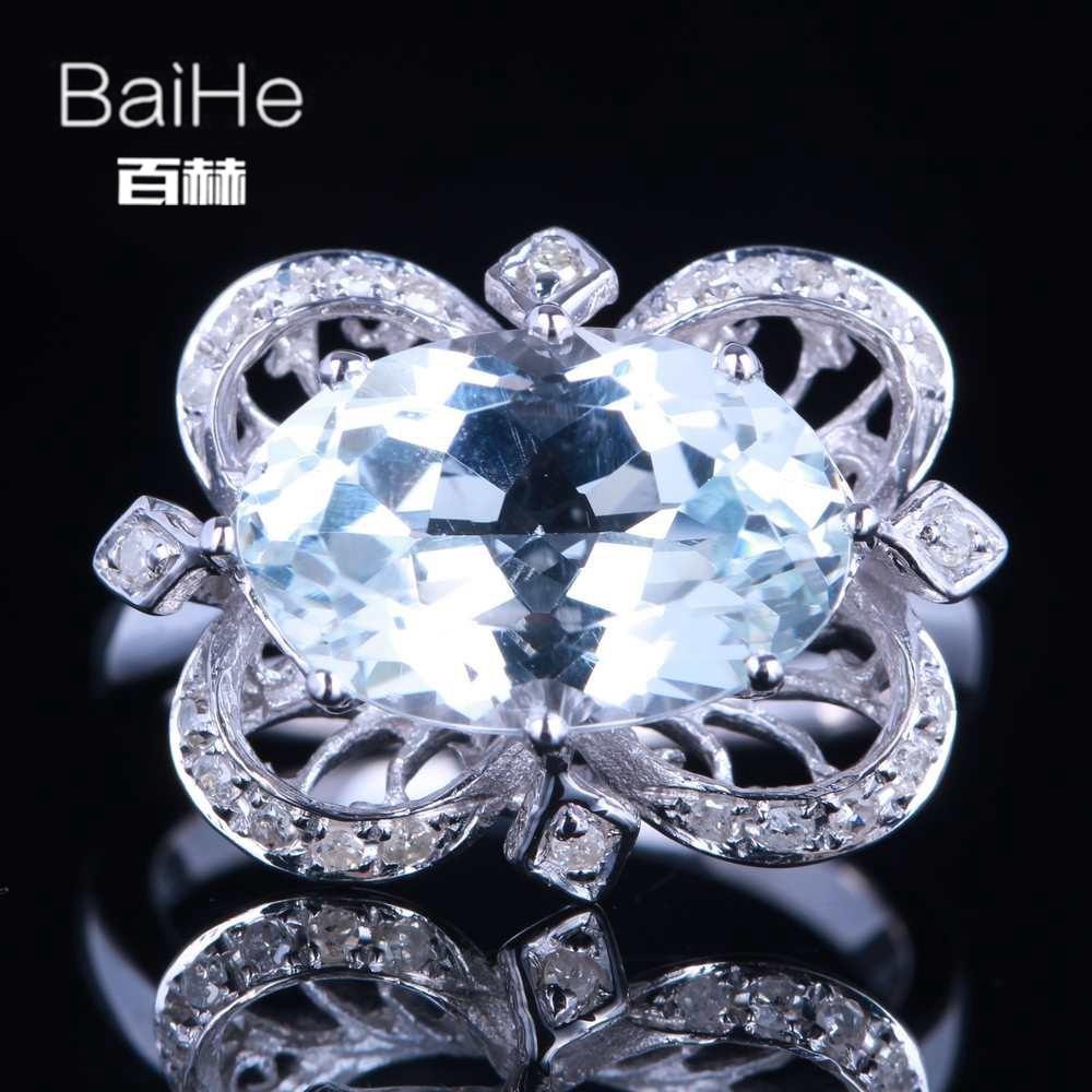 BAIHE Solid 14K White Gold(AU585) 4.75CT Certified Oval Flawless 100% Genuine Topaz Wedding Women Trendy Fine Jewely Ring