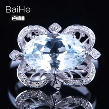 цены BAIHE Solid 14K White Gold(AU585) 4.75CT Certified Oval Flawless 100% Genuine White Topaz Wedding Women Trendy Fine Jewely Ring