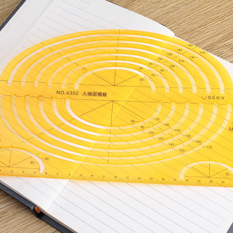 Office Oval Circle Measuring Drawing Template Ruler Stationery