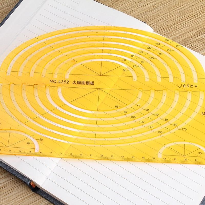 Kicute Plastic Multipurpose Drawing Template Ruler Tools Foot Oval Template Ruler Drawing Supplies School Office Stationery