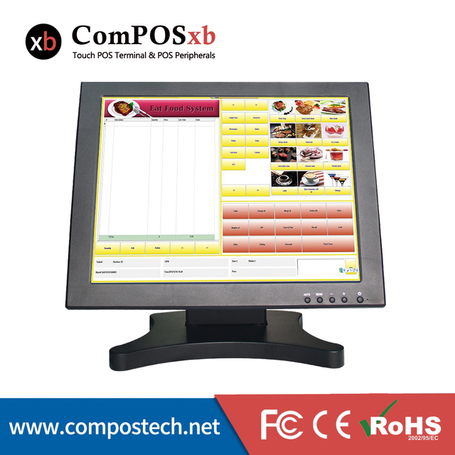 15 Inch LCD 5 Wire Resistive Touch Screen Monitor For POS Machine