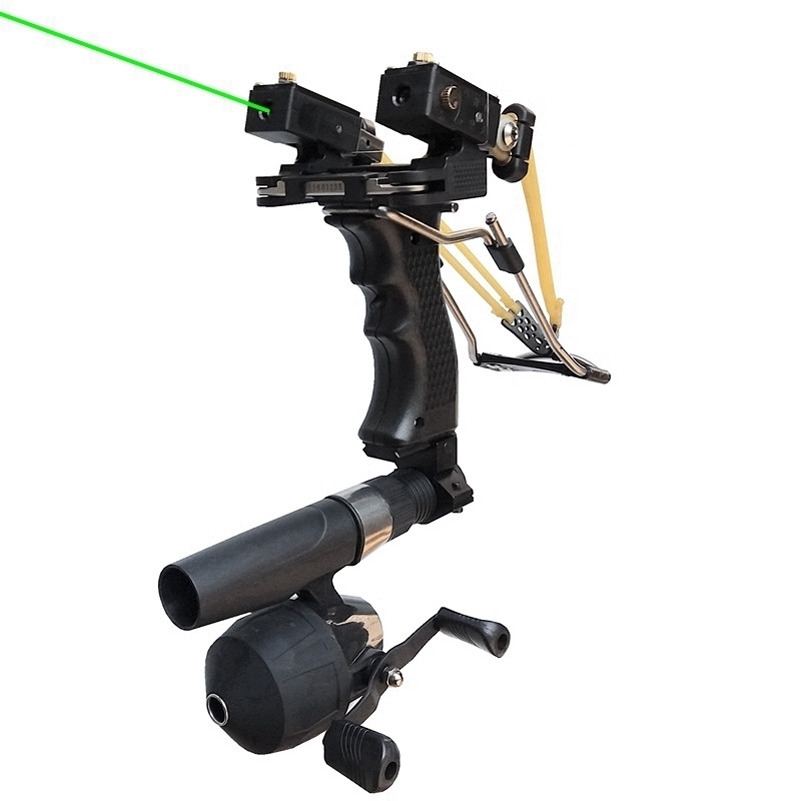 Red/Green Laser Fish Slingshot with the Fishing Reel Stainless Steel Aluminium Alloy Archery Shooting Hunting Equipment 2017 slingshot hunting powerful catapult camouflage stainless steel hunter aluminium alloy sling shot caza with clamp and gifts