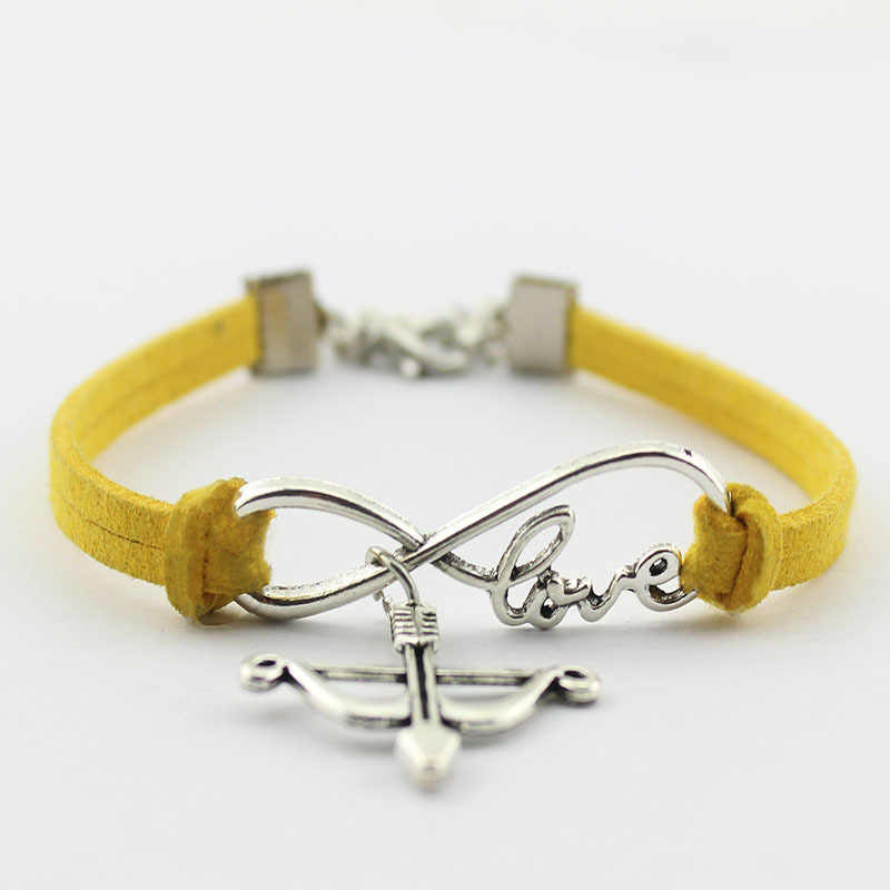 Ancient Silver Bow Arrow Infinity Symbol Love Bracelet Velvet Rope Bracelet Jewelry New Style Personality Creative Holiday Gift