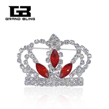 Rhinestone Crown Brooch with 3 Red Oval Stones for Lady Queen  FREE SHIPPING leaf floral artificial gem oval rhinestone brooch