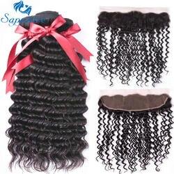 Сапфир глубокая волна Реми Человеческие волосы 3 Связки с 13*4 Синтетический Frontal шнурка волос 1B # Цвет для волос Salon соотношение длинные