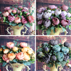 Artificial Fake Peony Silk Floral 12 Heads Flowers Bridal Flower Arrangement Home Wedding Table Party Decor