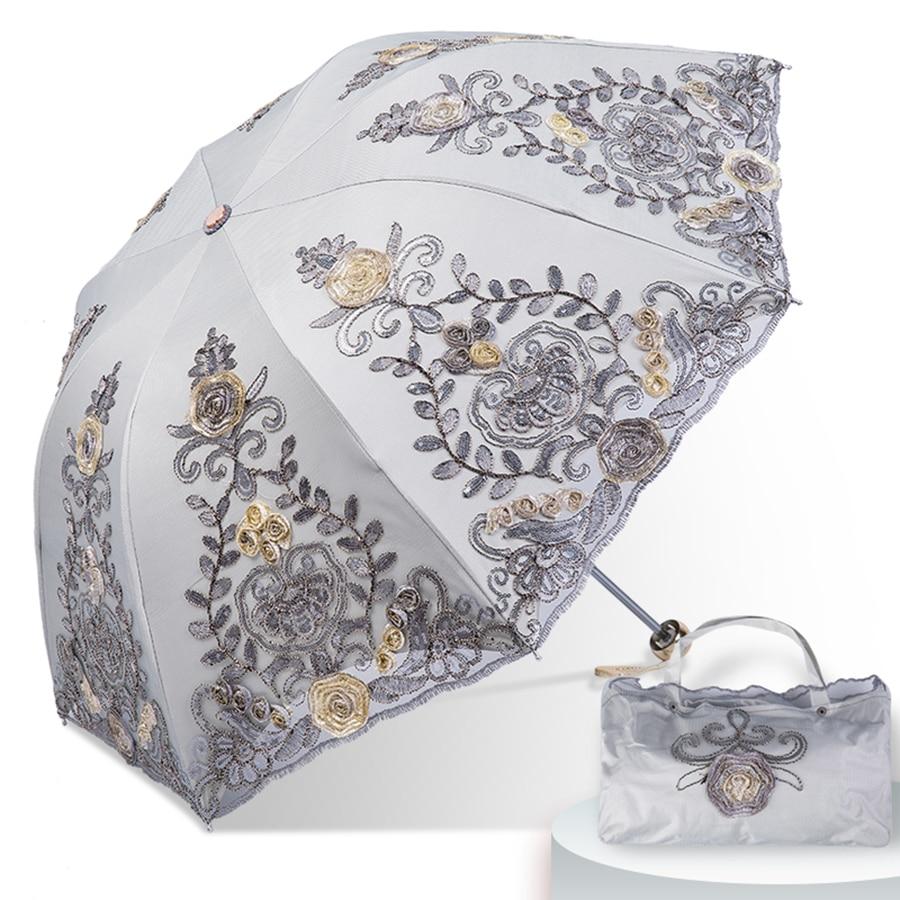 Dentelle pluie soleil parapluie mariage femmes Protection UV magique Portable clair Parasol pliant Guarda Sol luxe dames parapluie 40S100 - 5