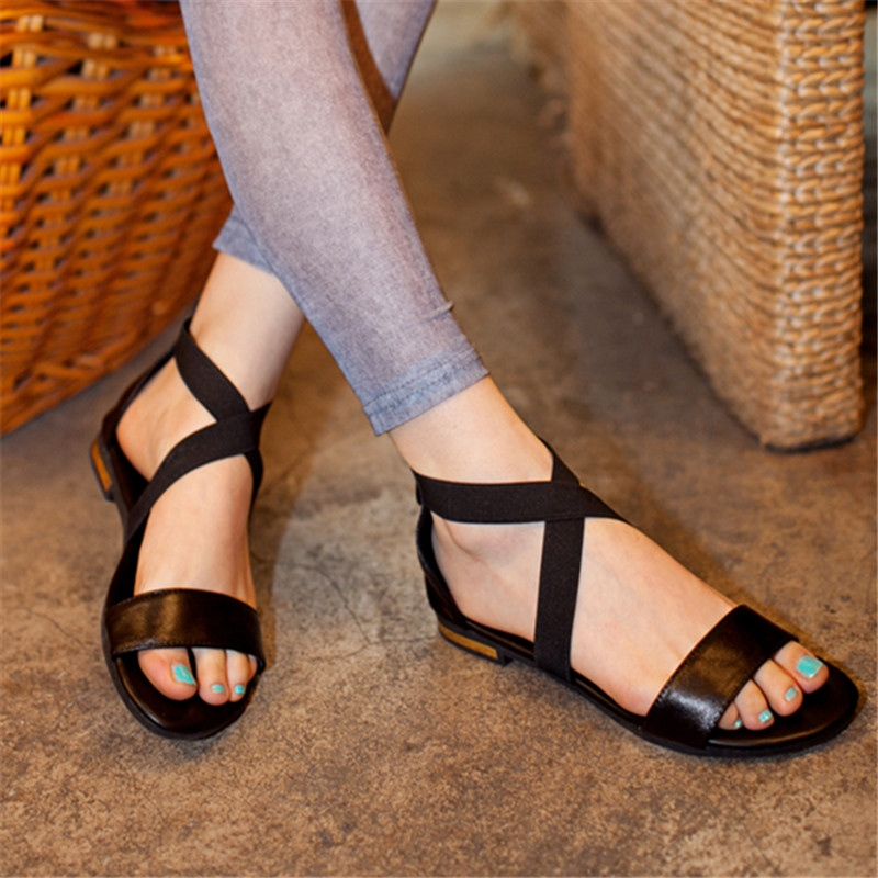 MORAZORA Size 31-46 2019 New Genuine Leather shoes women sandals zip red black summer shoes casual ladies flat sandals femaleMORAZORA Size 31-46 2019 New Genuine Leather shoes women sandals zip red black summer shoes casual ladies flat sandals female