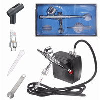 Dual Action Airbrush Set Spray Gun Air Compressor Kit Aerograph for Art Body Painting Temporary Tattoo Manicure Cake Model Nail