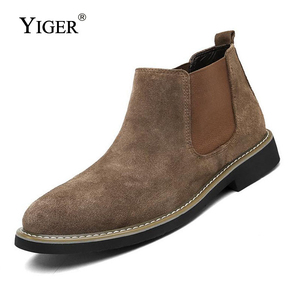 Image 3 - YIGER NEW Men Chelsea Boots Ankle Boots Fashion Mens Male Brand Leather Quality Slip Ons Motorcycle Man Warm Free shipping 0013