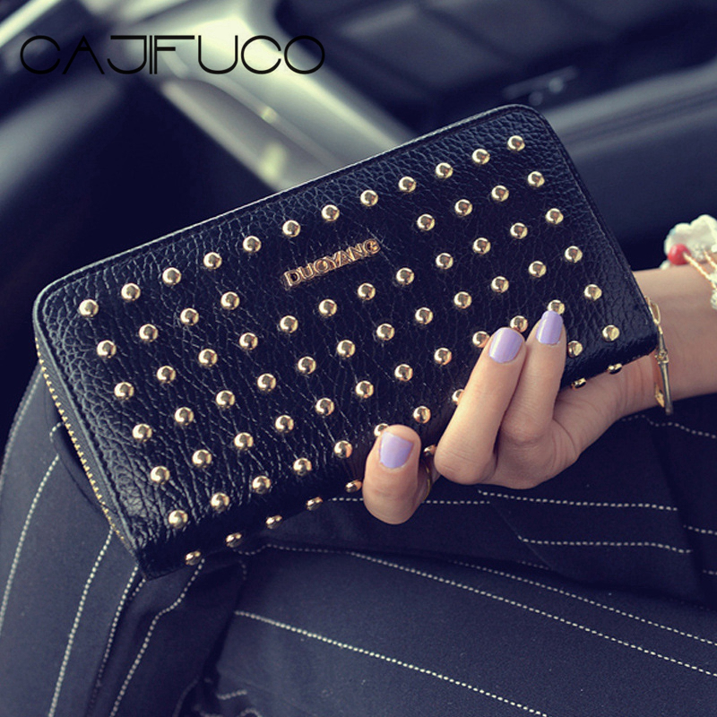 CAJIFUCO Gold Round Rivet Long Zipper Wallet Women Lichee Style PU Leather  Wallet Luxury Studded Wallet b9712af962