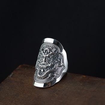 wholesale male money fine silver S990 Thai silver restoring ancient ways ring process Men kirin totem silver ornament