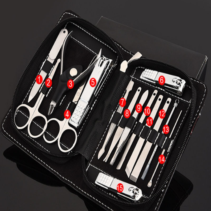 15 in1 Manicure Set Stainless Nail Clipper Kit Nail Care Set Nail Clippers Cuticle Grooming Kit Utility Manicure Set Tools stainless steel pedicure manicure set nail clipper scissors nail care nipper cutter cuticle grooming kit
