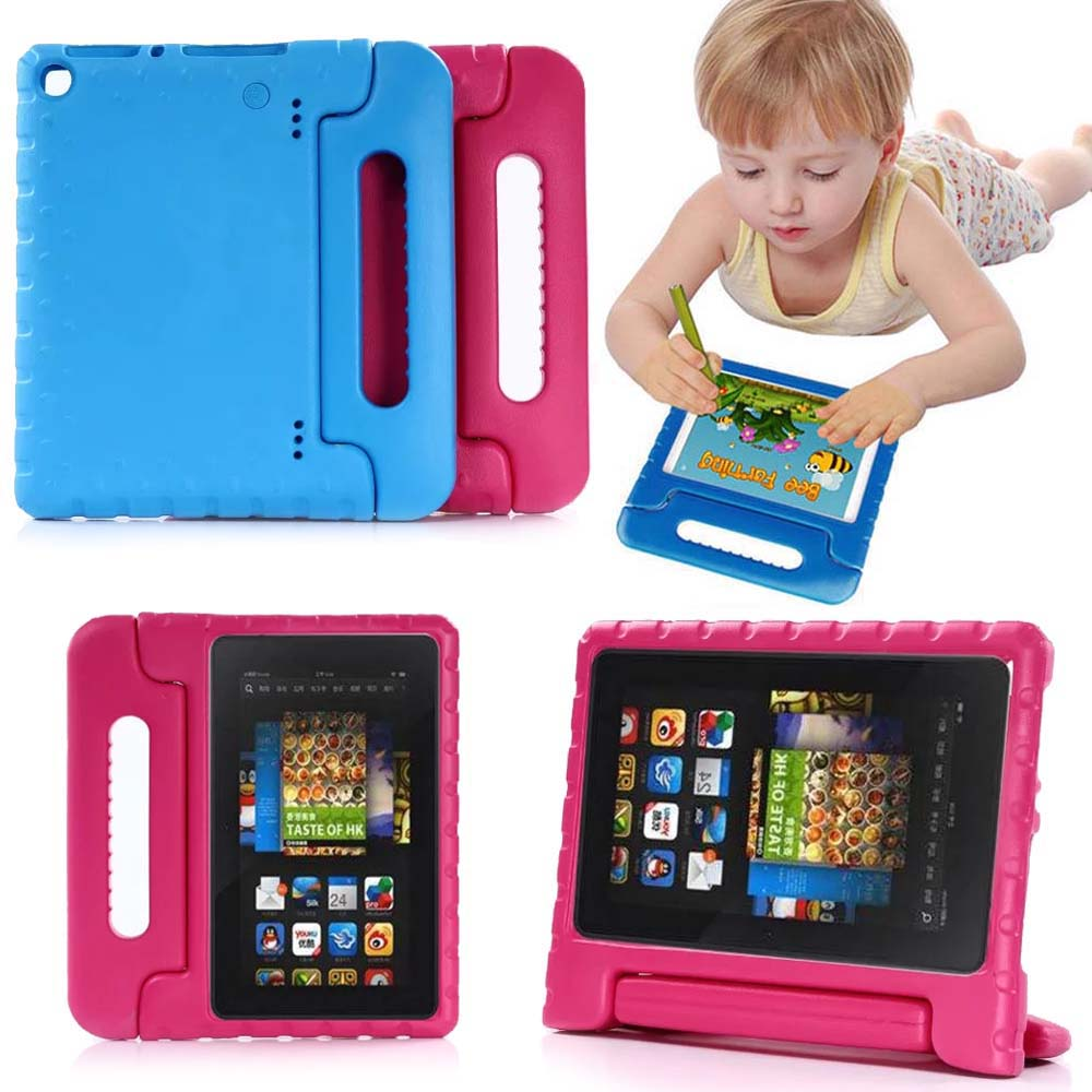 Kids Children Safe Rugged Proof Foam Case Handle Stand For New Amazon Fire HD 8 2017 Release 7th Generation Thick EVA foam Case thick eva foam kids children safe rugged proof foam case handle stand for galaxy tab e 9 6 t560 kids shockproof tablet case