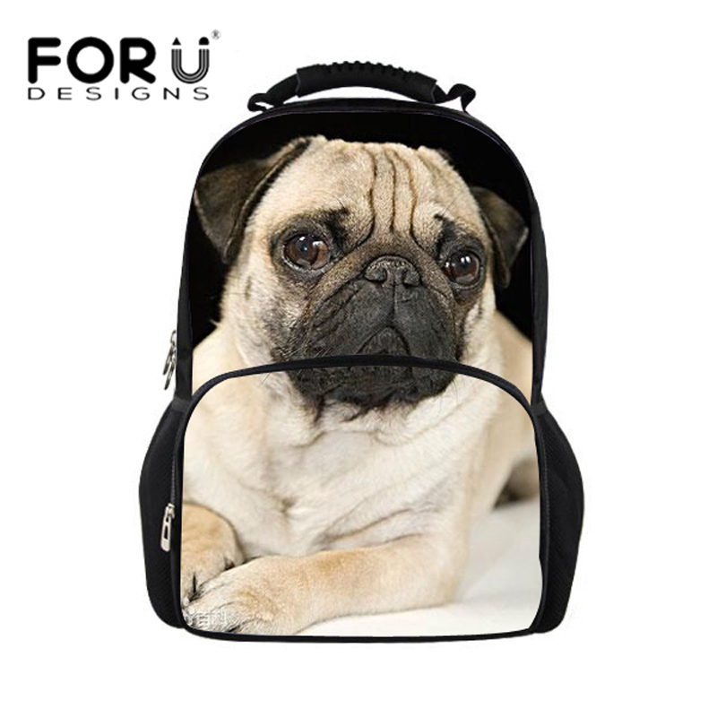 где купить High Quality Women Backpack School Bags for Teenager Girls 3D Pug Dog Cat Printing Fashion Backpacks Mochila Feminina Felt Bags по лучшей цене