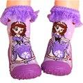 3 Par/lote Antideslizante Bebé Calcetines con Suela De Goma Zapatos de Interior Del Piso Calcetines Infantiles Del Niño Calcetines de Bebé de Algodón Recién Nacido WS920