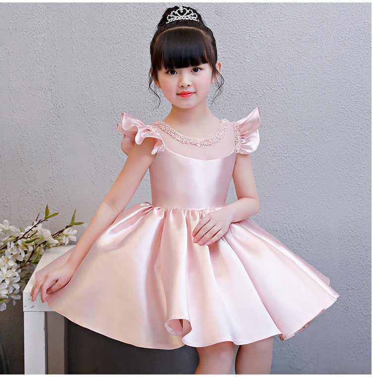 2018 Pink Tulle Girls Summer Dresses Elegant Bead First Communion Dresses For Wedding Graduation Pageant Flower