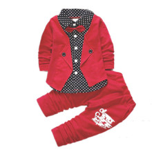Boys Clothes 2019 new Spring Autumn Long Sleeve Patchwork Turn-down Collar Single Breasted Coat+ Pants Baby Boy Clothes цены онлайн