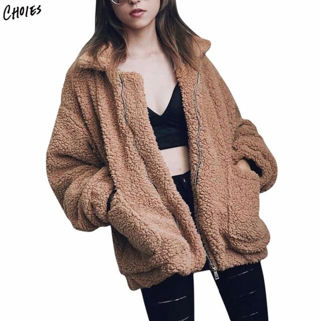 0923347b09991c 4 Colors Lapel Faux Shearling Jacket Coat Plus Size Women 2017 Winter Long  Sleeve Zipper Up Front Pockets Casual Warm Outwear